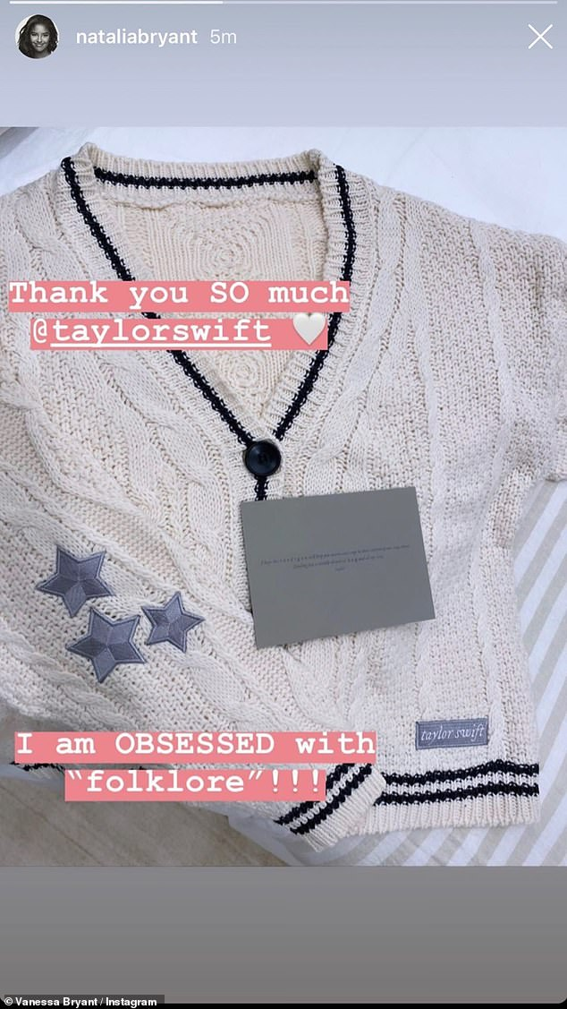 Thankful:'Thank you SO much @taylorswift. I am obsessed with folklore,' wrote Natalia, who showed off the stylish cardigan on her Instagram Story