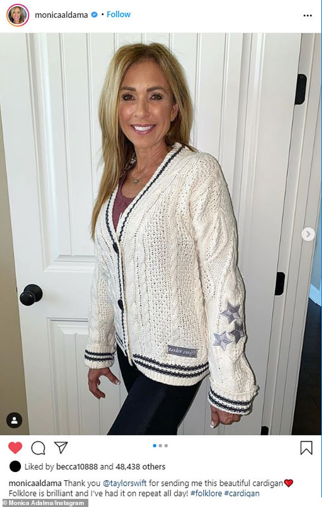 On repeat:The cardigan was also sent Cheer star Monica Aldama, who modeled it for her 642,000 followers on Instagram