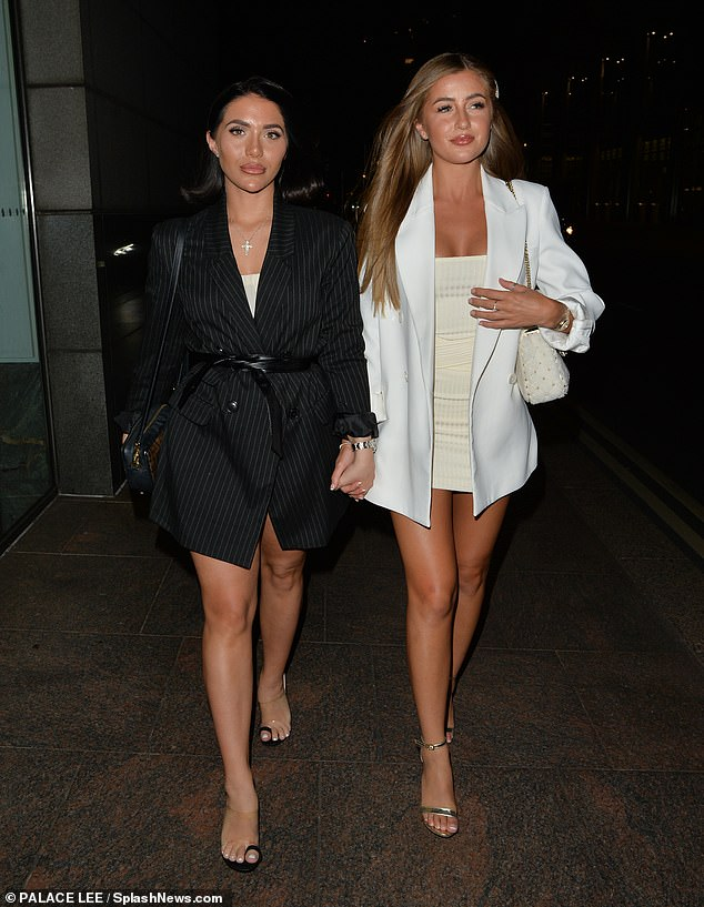 Glamorous: The Love Island star, 22, looked incredible in a white mini dress and blazer combo while Chloe, 19, rocked a blazer-style dress for their night out