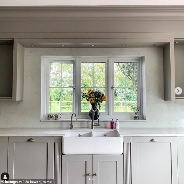 Stylish: The reality star's kitchen boasted chic grey cupboards and a stunning butler style sink