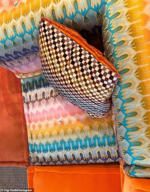 The colors!The friend of Kendall Jenner highlighted the corner section of her couch, which was unmissable with his pastel hues, and a checker print throw pillow