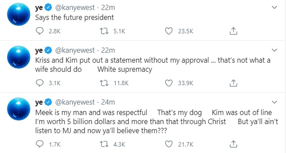 Ramblings: Kanye shared a string of now-deleted shocking tweets amid his meltdown last week
