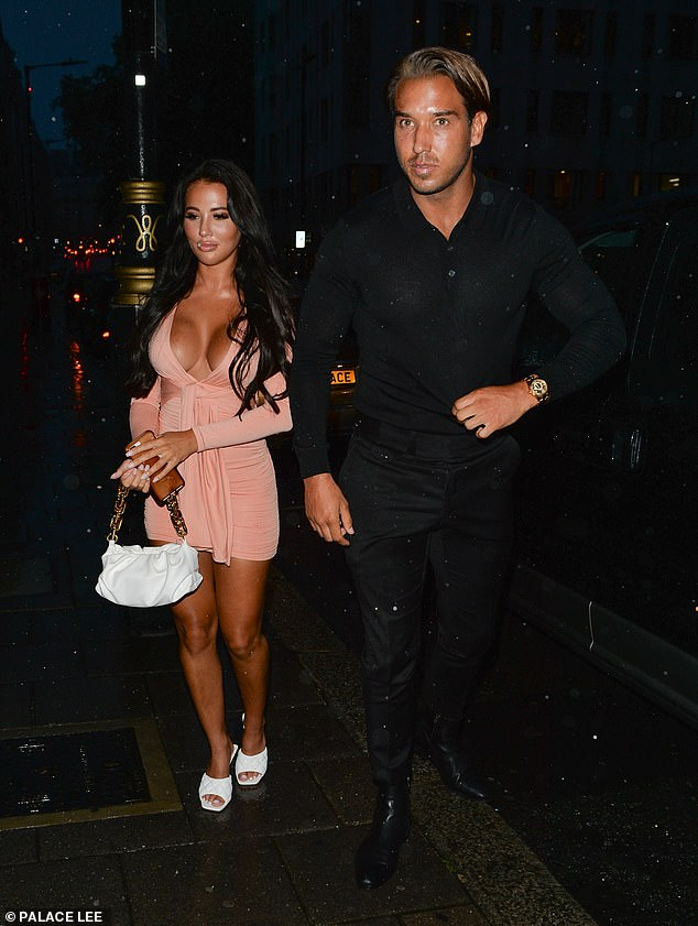 Looking cosy? Yazmin and James appeared to be in good spirits as they left the restaurant together