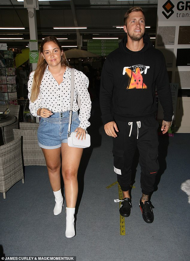 Couple:Jacqueline Jossa, 27, looked chic in a polkadot shirt as she stepped out with Dan Osborne at Bobby Norris' Celeb BBQ night in Essex on Saturday
