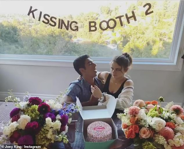 Funny: The hunky actor and Joey recently had covid tests so they could reunite for a Kissing Booth viewing party