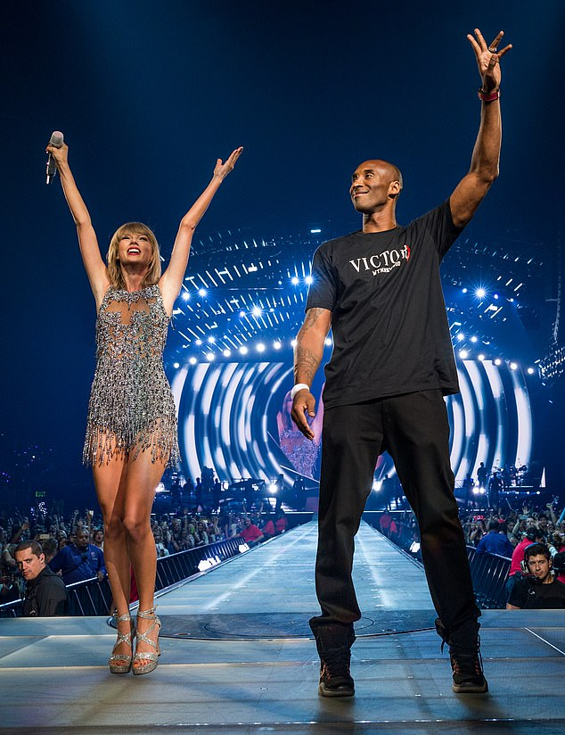 Megastars:Swift has a lengthy history with the Bryant family, staring in 2015 when Kobe surprised her on stage at her sixteenth sold-out Staples Center show in Los Angeles; Taylor and Kobe pictured in 2015