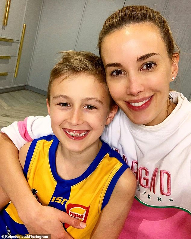 'He felt the love today': Rebecca Judd, 37, wished her eldest son Oscar a happy ninth birthday in isolation as Melbourne continues its lockdown, with a sweet Instagram post (pictured)