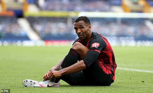Callum Wilson looks dejected as it is confirmed that Bournemouth are relegated on final day