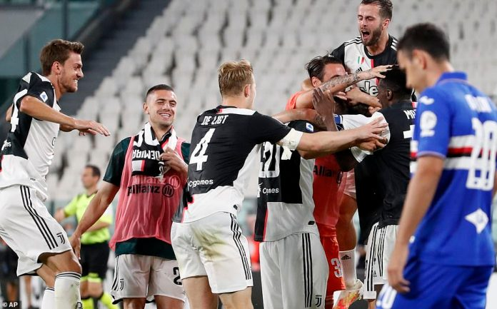 Juventus stars jump for joy after securing their ninth Scudetto in a row on Sunday with a 2-0 win at home against Sampdoria