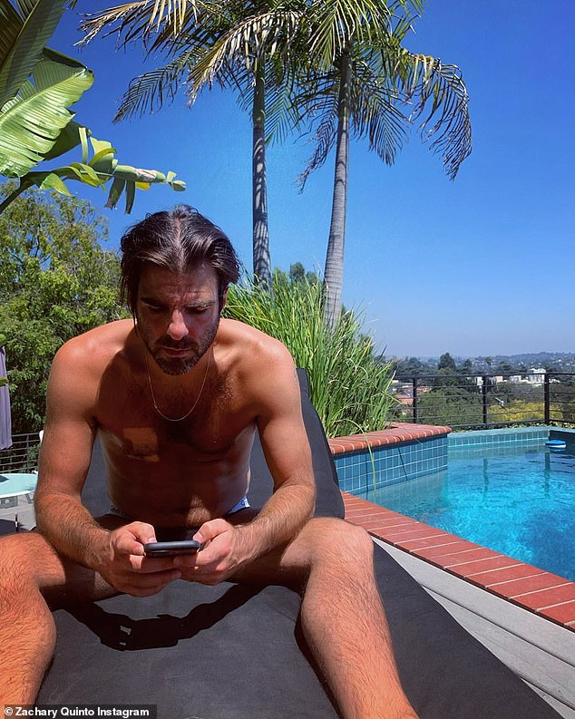 Soaking up the sun: The day before, Quinto took to Instagram to share a photo of himself  lounging out by the pool with the caption: 'Felt like hydra all day today…'