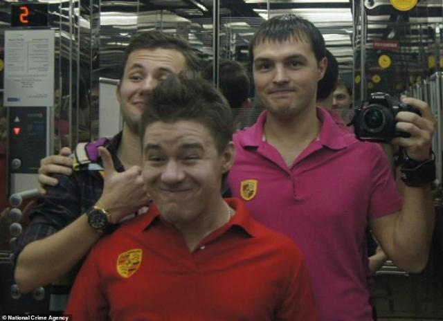 Evil Corp members Kirill Slobodskoy, Dmitry Smirnov and Denis Gusev pictured in Dubai