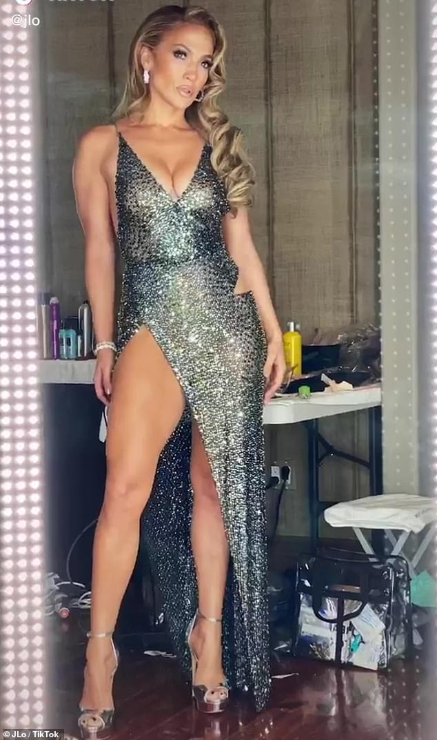 Hell on heels: The Hustlers star modeled a range of styles from her JLo Jennifer Lopez line in the video compilation