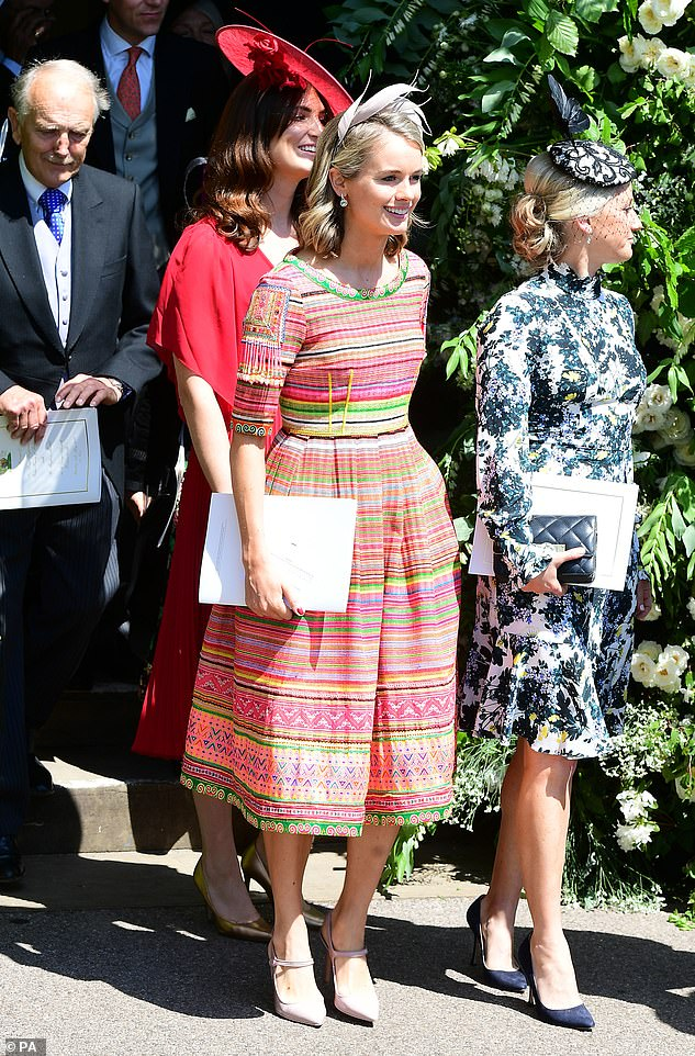 The actress has previously revealed how her 'dream day' was a small, non-traditional wedding, and not in a church - the opposite of her ex-boyfriend's nuptials.  Pictured: Cressida at Prince Harry's wedding to Meghan Markle in May 2018