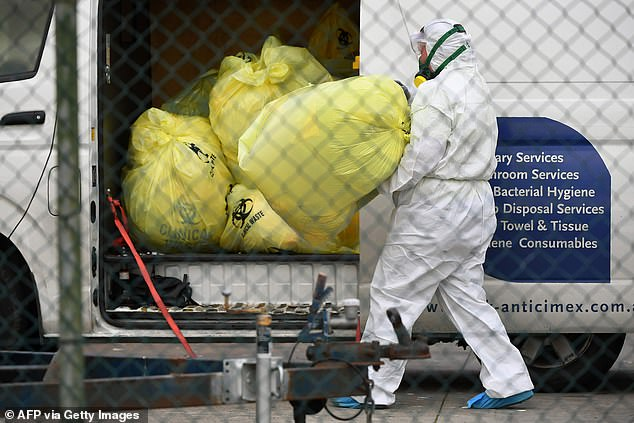 Medical waste taken from St Basil's Home for the Aged, Fawkner, Melbourne, on Monday