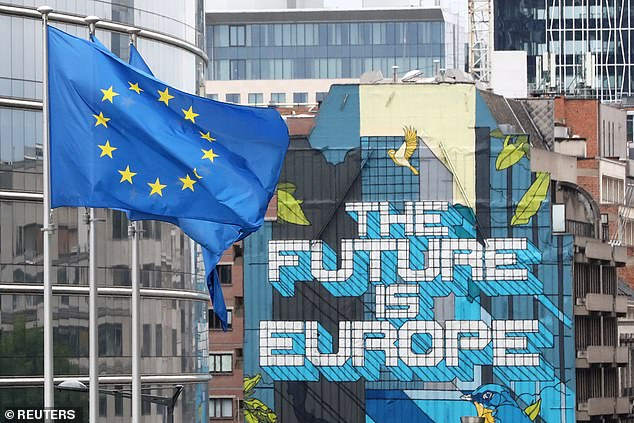 European Union flags flutter outside the European Commission headquarters, ahead of an EU leaders summit at the European Council headquarters, in Brussels, Belgium July 16, 2020