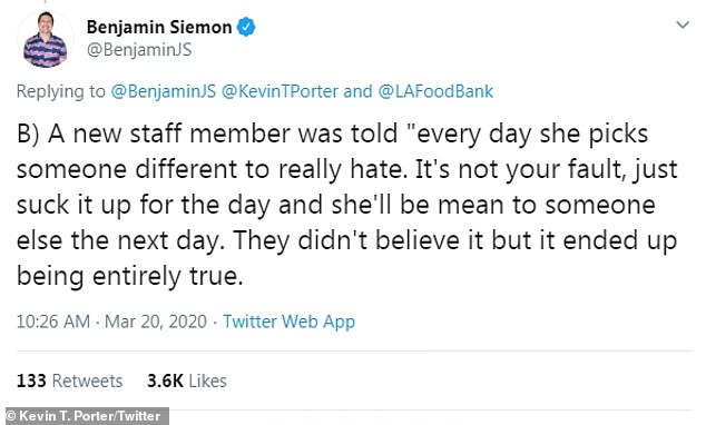 Unbelievable: Benjamin Siemon spoke about a staff member who was told to expect Ellen to be mean