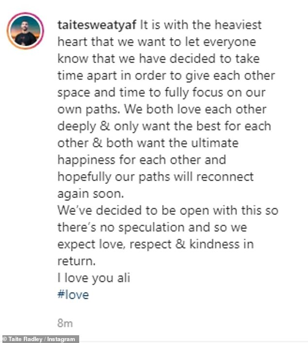 Sad: The pair, who met on The Bachelorette in 2018, said that they still loved each other in corresponding Instagram posts