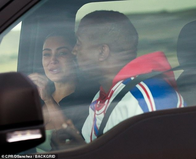 Emotional: Kim was photographed on Monday engaging in an emotional back-and-forth with Kanye, while visiting his ranch in Wyoming