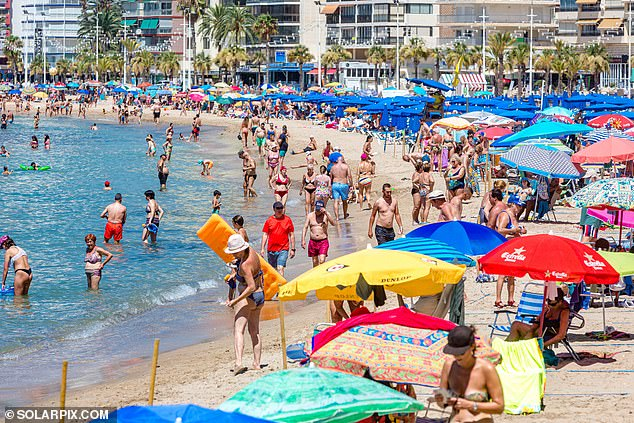 Tourists in Benidorm last week, who are now subject to quarantine restrictions upon their return to the UK