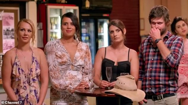 Making a comeback: Later on at the group dinner party, Harry and the remaining girls were left shocked after being told Madison wanted to return to the farm. Pictured, (L-R) Ashleigh, Karlana, Stacey and Harry