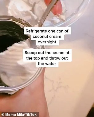The woman known as Mama Mila on Tikotok shared her 'Life Hack' for a quick and easy dessert that takes just 30 seconds to prepare (process pictured)