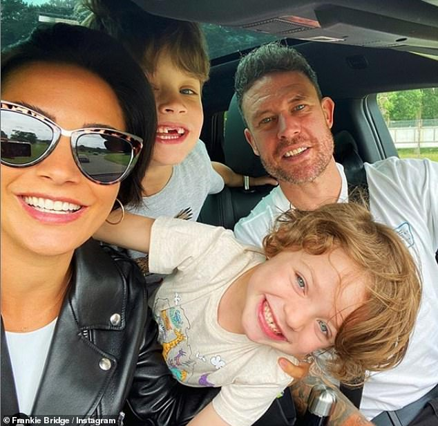 Family: Frankie and her husband Wayne Bridge, 40, are parents to songs Parker, seven, and Carter, five