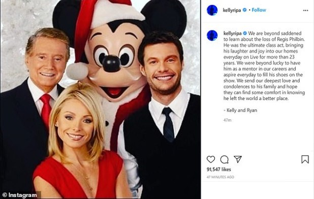 Tribute: Kelly Ripa, meanwhile, remembered the late star with a photo of herself with Philbin and her new live!  cohost, ryan secret