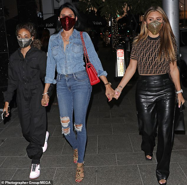 Stepping out:Larsa Pippen was seen on Tuesday night stepping out in Beverly Hills with her 12-year-old daughter Sophia and a female pal