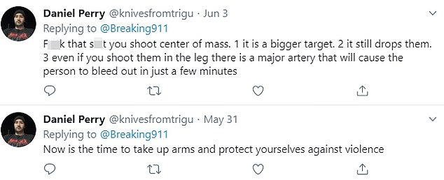 On June 3 this year, Perry wrote about killing someone with a firearm and days earlier said it was 'time to take up arms and protect yourselves against violence'
