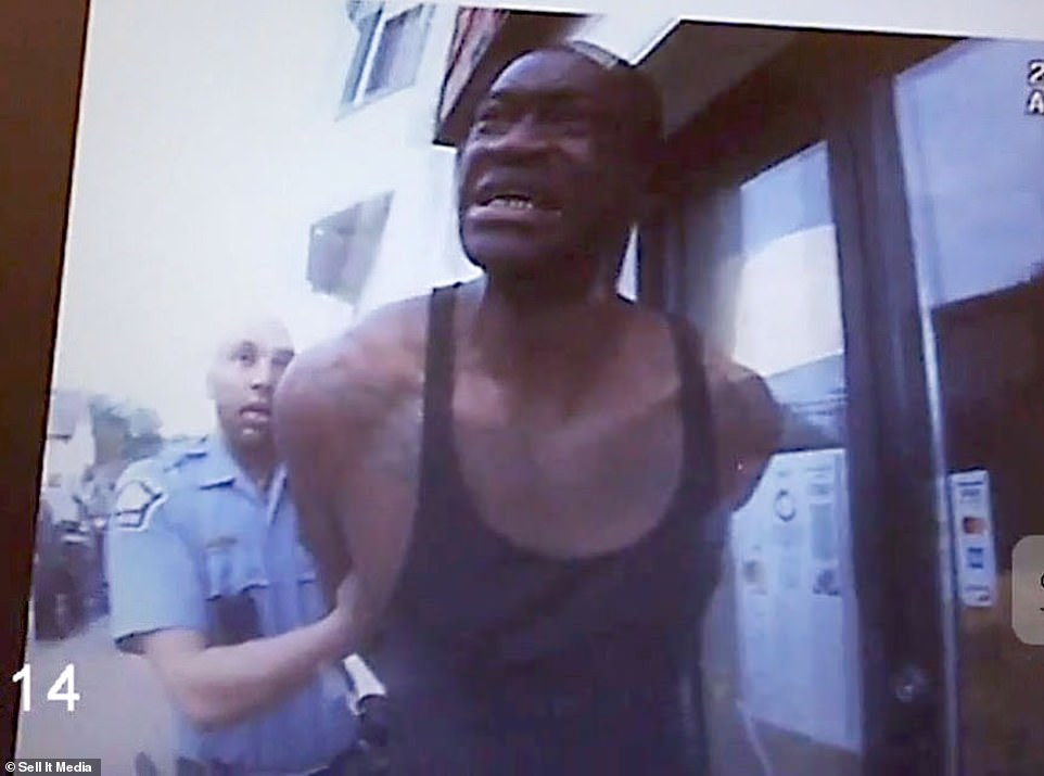 Floyd, 46, is seen sobbing as Kueng and Lane pull him out of the car and handcuff him