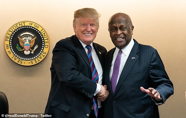 President Donald Trump (left) shared this photo with Herman Cain (right) on Twitter Thursday, calling him a `` great friend ''. Cain's website and employer announced Thursday morning that Cain had died from COVID-19. He tested positive nine days after going to Trump's rally in Tulsa