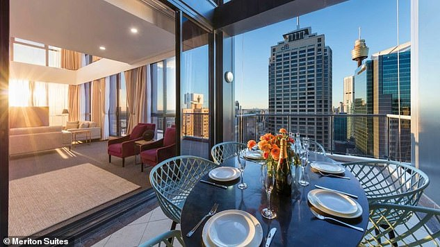 He's been isolating in the three-bedroom two-storey Meriton apartment with his wife and their four children, aged between six months and six years