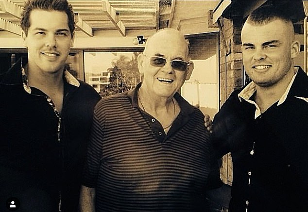 Rest in peace: Bachelor in Paradise star Jake Ellis (left) has announced the death of his father, Brian (centre). They are pictured here withJake's brother,Luke (right)