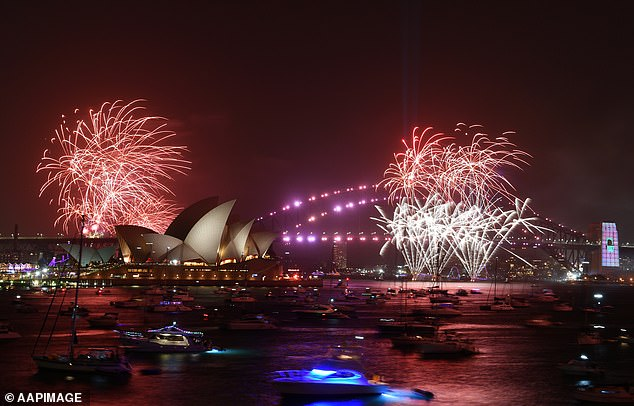 After spending the night partying things finally began to wrap up about 6am, with the victim put to bed by her boyfriend after passing out on the couch (Pictured are the New Year's Eve fireworks over Sydney Harbour)