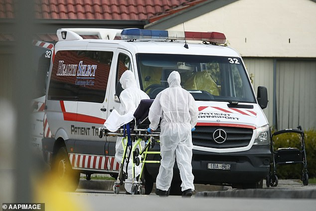 Opposition Leader Michael O'Brien said there should be tougher penalties for breaking isolation rules such as watch bracelets and higher fines (in the photo a resident is taken away in an ambulance at St Basil's Homes for the Aged in Fawkner, Melbourne)