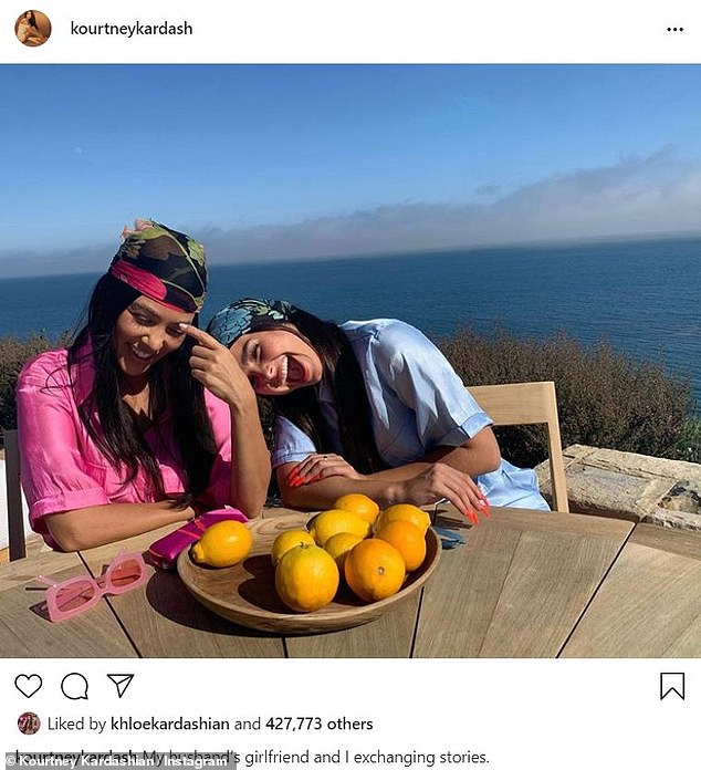 Getting Close: Earlier today, Kourtney shared a photo with her friend and TikTok star Addison Rae at her Malibu beach house, she joked, 'My husband's girlfriend and I are sharing stories' '