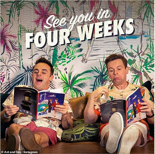 Toodle-oo !: This snap will be the last fans of Ant McPartlin and Dec (both 44) for a while as the duo announced they would be leaving social media on Saturday