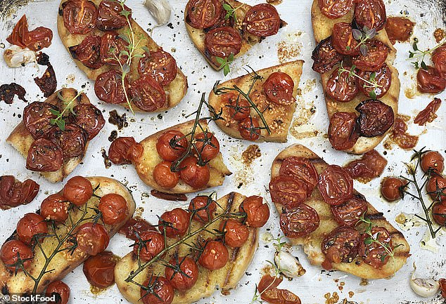 Turn up the heat and allow tomatoes to sizzle until the skins start to blister (213cal per serving)