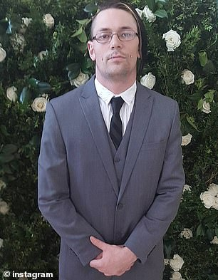 Colin Cotter, 30 (pictured), was on the fire escape of his apartment with a friend around 1.38am on Saturday