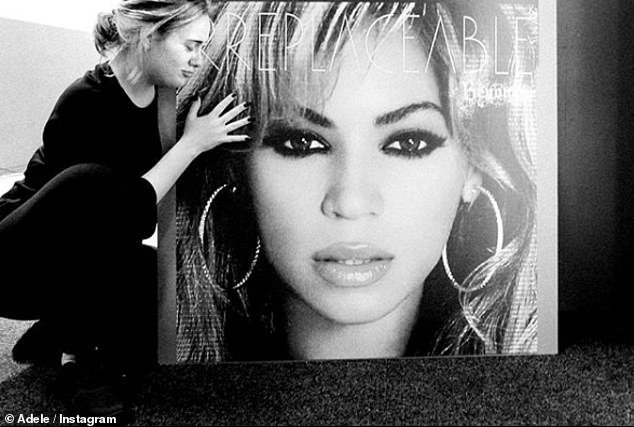 Fan girling:She previously share a photograph of her hugging a poster of the singer - when she released her visual album Lemonade in 2016 and added a gushing caption