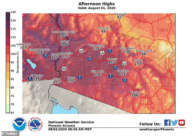 Temperatures in Phoenix are expected to reach 113 degrees on Saturday