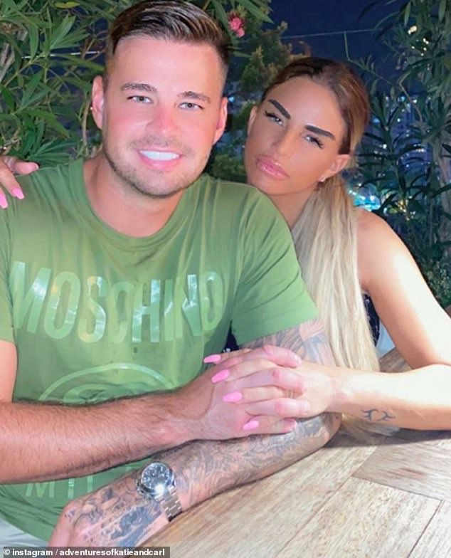 Heading down the aisle? Katie Price revealed on Saturday that she is 'engaged' to beau Carl Woods during their Turkish getaway