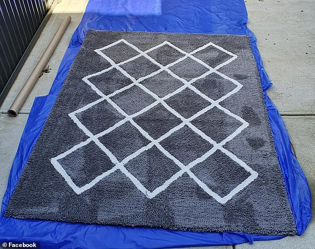 The Australian shopper said she decided to 'carpet wash' her new $45 crisscross pattern rug after she was curious to see how 'dirty' it is