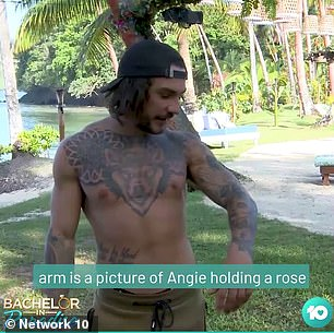Detail: In a video posted to the show's Instagram page, the 26-year-old reality star revealed he has a portrait of Angie's face holding a rose permanently inked on his left arm