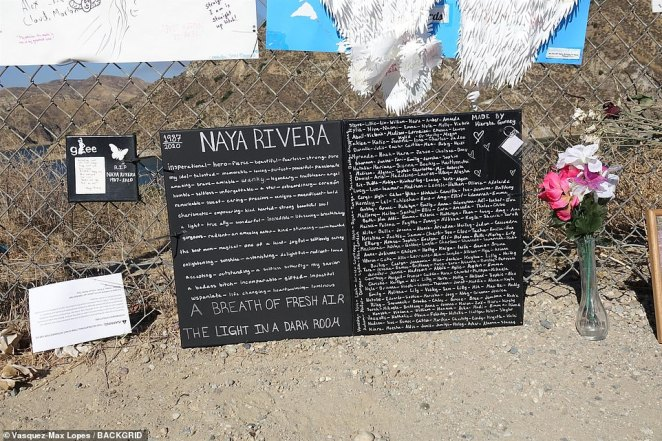 A poster lists out powerful adjectives describing Rivera alongside hundreds of names of fans