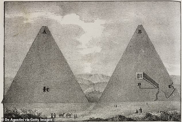 An 1838 diagram shows the interior of two of the Great pyramids.Egyptians built pyramids thousands of years ago, mostly to serve as tombs for their pharaohs