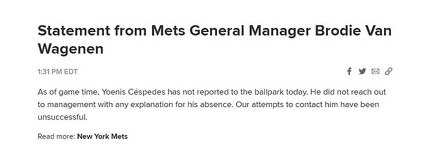 The Mets issued a statement saying they had not been able to get in touch with the player