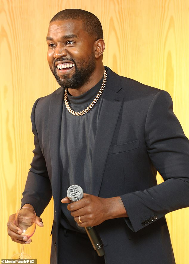 Speaking: Kim would have been furious that Kanye publicly shared the story of the abortion. Kanye continued to defend his revelation. Photographed in November 2019