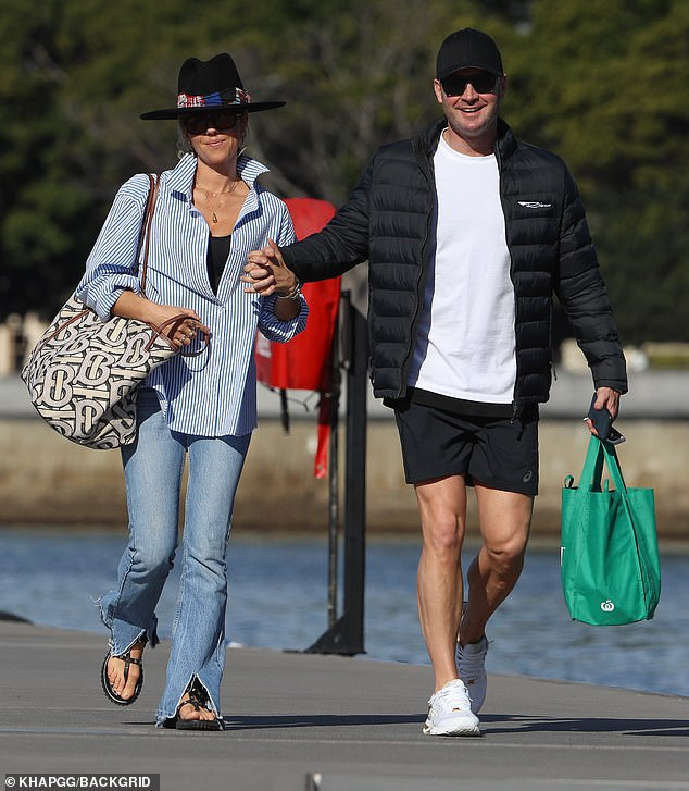 Pip Edwards and Michael Clarke on a million superyacht in Sydney