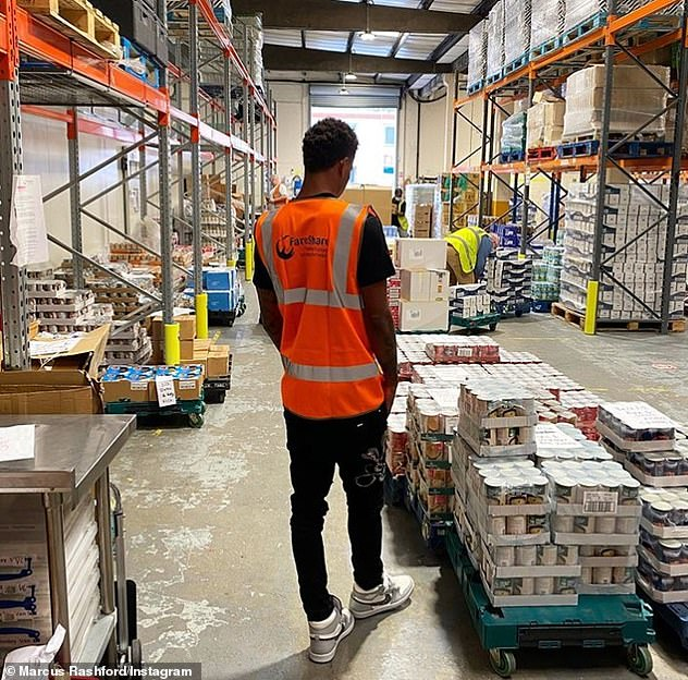 Rashford lent a hand at a FareShare factory shortly after the Premier League ended